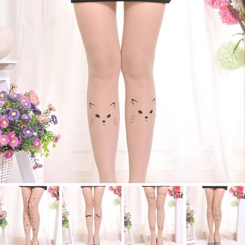 Нейлоновые телесные женские колготы с татуировкой (в наличии модель с последнего фото и 6, 13) - 9