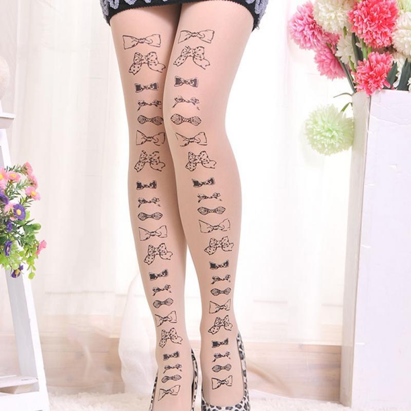 Нейлоновые телесные женские колготы с татуировкой (в наличии модель с последнего фото и 6, 13) - 2