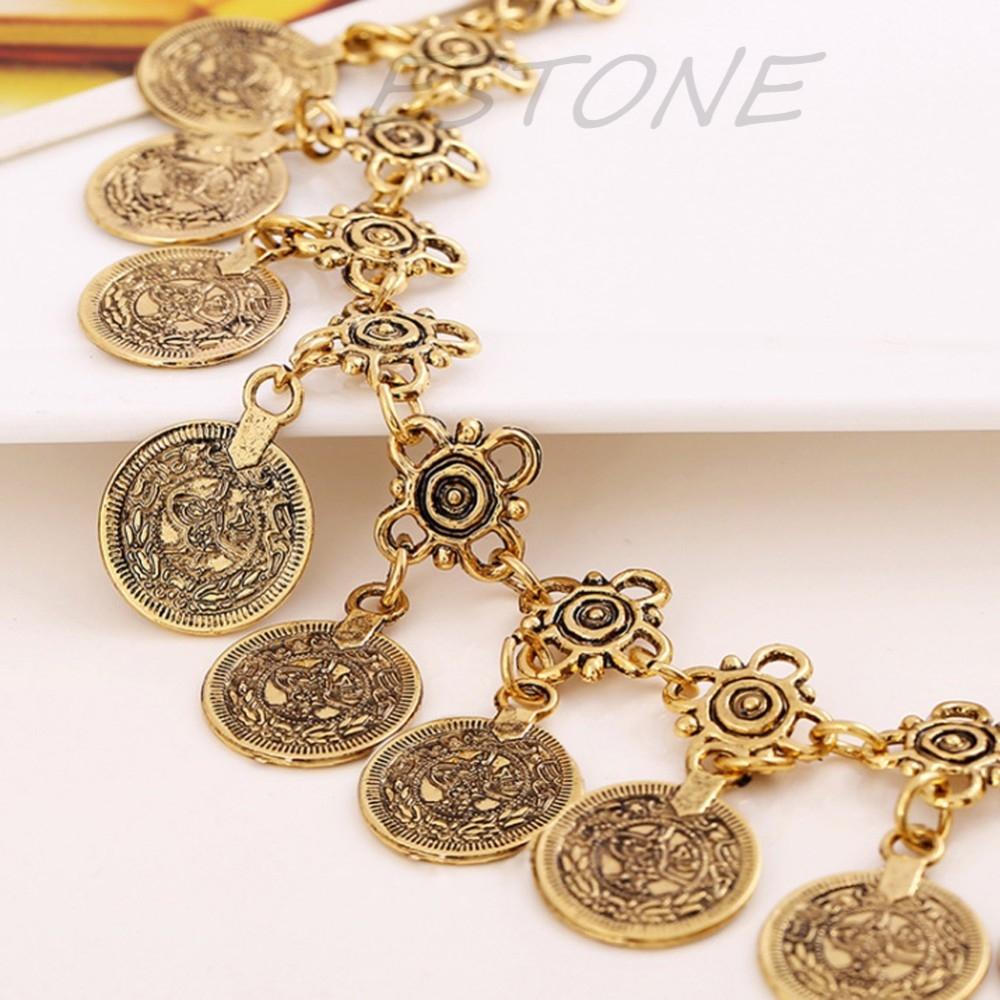 Ножной браслет  в восточном стиле с монетками - 7