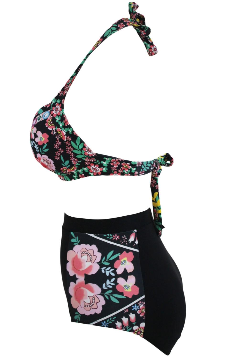Раздельный купальник-халтер  цветочный черный с плотной чашкой и высокими плавками - 2