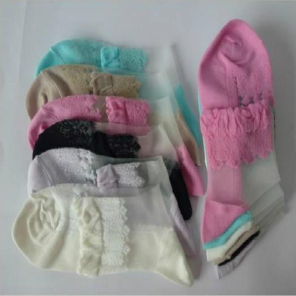 Носки романтичные с оборкой и шелковой вставкой - 5