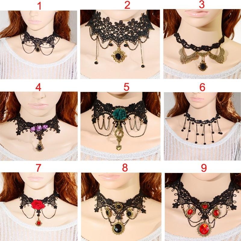 """Кружевной чокер-ожерелье """"Готика""""  ( в наличии черные и беж фото 1, а также четыре модели черного и белого цвета (последних пять фото)) - 4"""