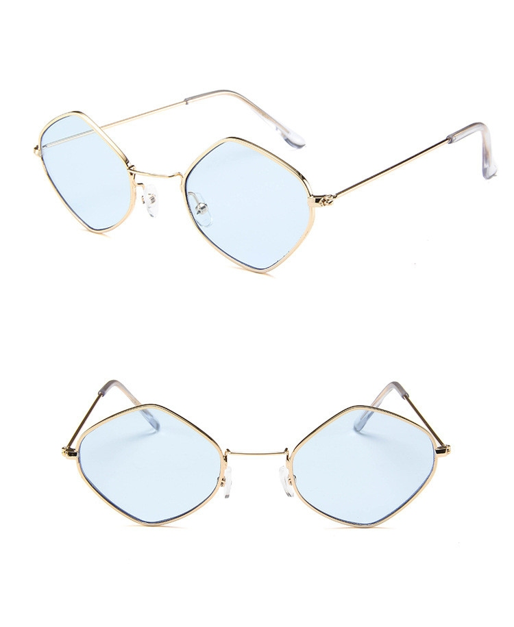 Солнцезащитные очки-ромбы с тонкой металлической оправой - 10