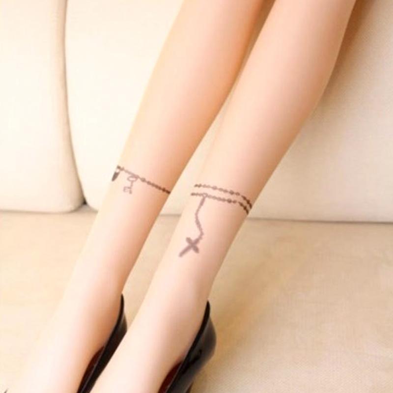 Нейлоновые телесные женские колготы с татуировкой (в наличии модель с последнего фото и 6, 13) - 8