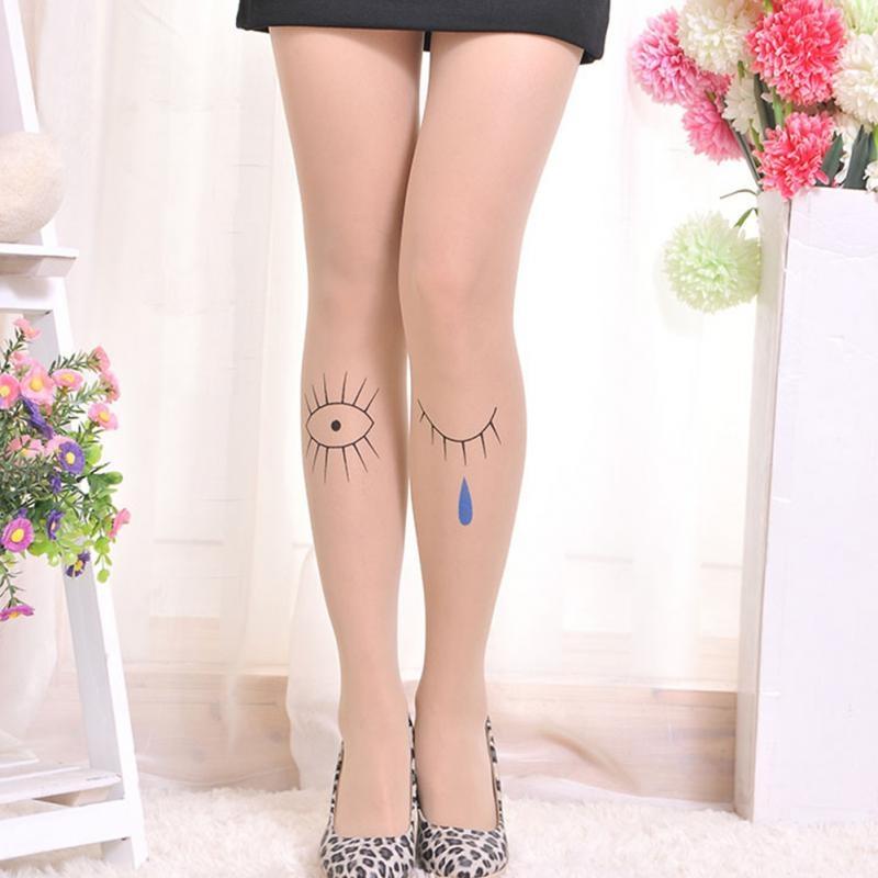 Нейлоновые телесные женские колготы с татуировкой (в наличии модель с последнего фото и 6, 13) - 3