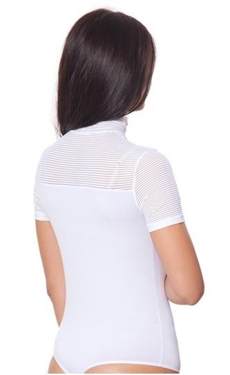 Женский боди-гольф с коротким рукавом с сетчато-полосатым верхом и стрингами (в наличии белый М) - 1
