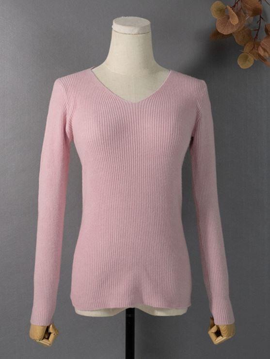 Женский трикотажный пуловер в рубчик (в наличии розовый, черный) - 5