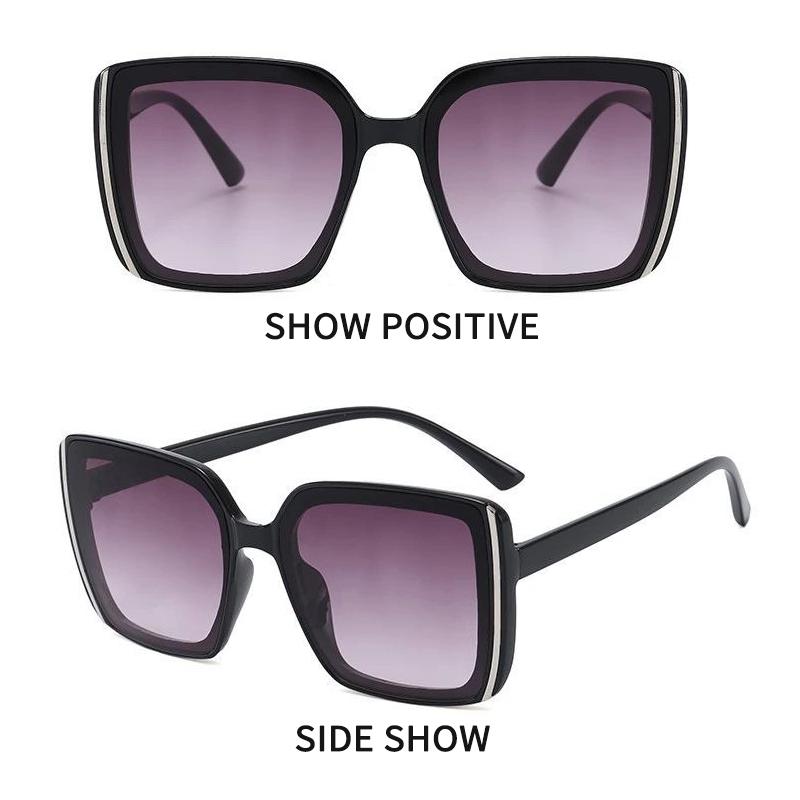 Крупные солнцезащитные квадратные очки в натуральных тонах и с дымчатой линзой (в наличии черные с серым градиентом и бежевые с черной линзой) - 1