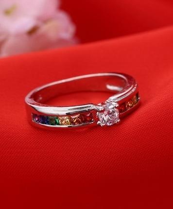 """Помолвочное кольцо с разноцветными кристаллами циркония покрытое серебром 925 пробы """"Радуга"""" - 1"""