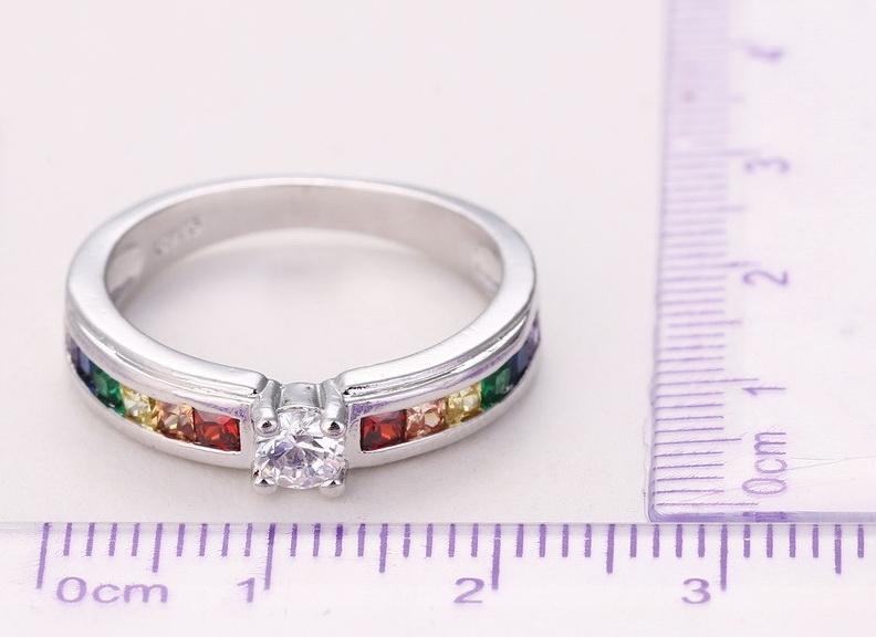 """Помолвочное кольцо с разноцветными кристаллами циркония покрытое серебром 925 пробы """"Радуга"""" - 2"""