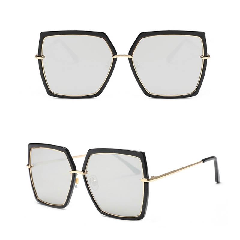 Крупные солнцезащитные очки-бабочки с зеркальной линзой и металлической переносицей (в наличии черная оправа серебряное зеркало) - 2