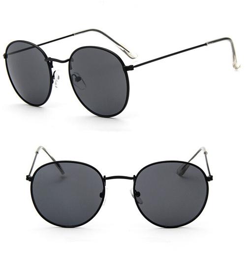 Округлые женские очки от солнца с тонкой металлической оправой (в наличии синее зеркало в золоте) - 2