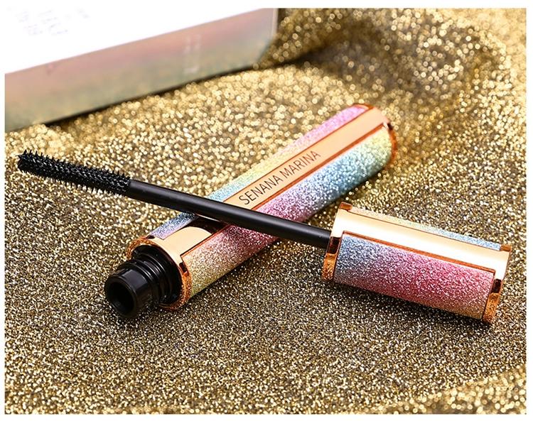 Тушь для ресниц черная водостойкая удлиняющая в блестящем тубусе Senana marina - 4