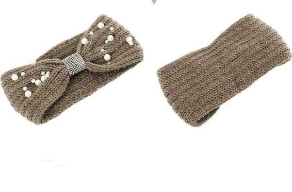 Теплая вязаная повязка на голову с жемчужинами - 1