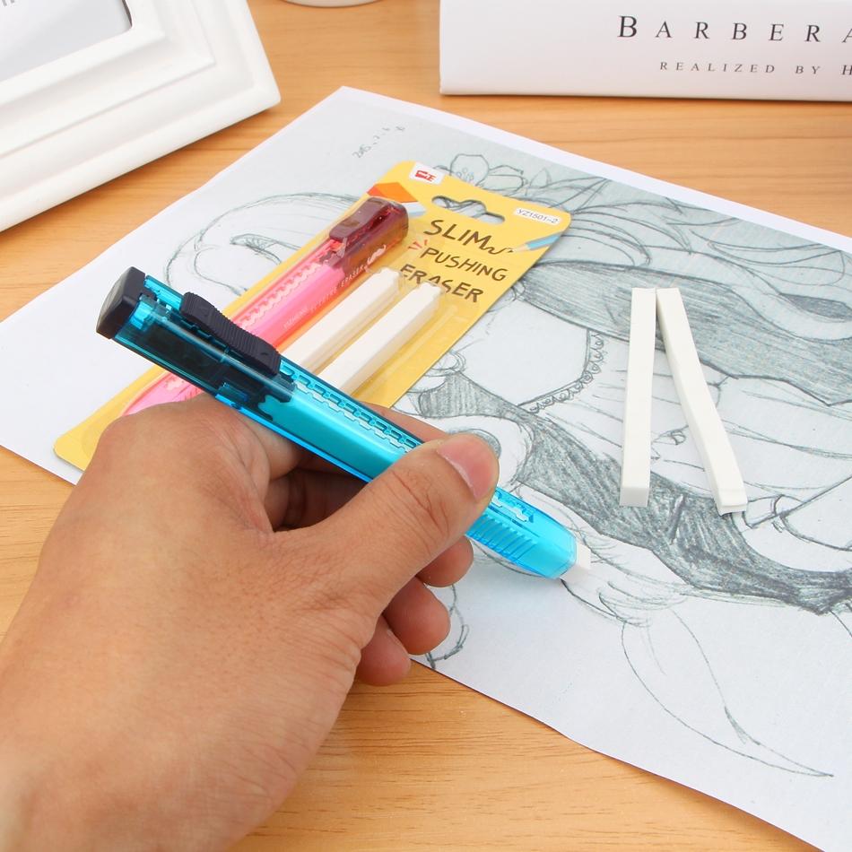 Канцелярский ластик-ручка с двумя запасками - 4