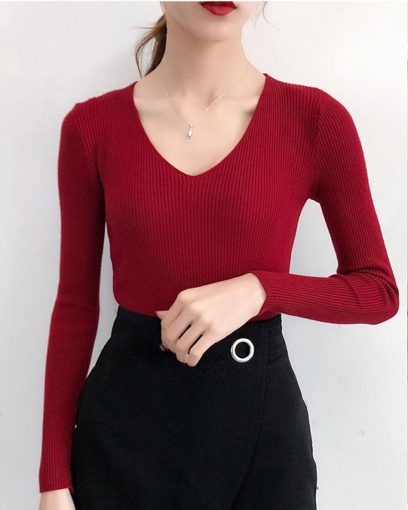 Женский трикотажный пуловер в рубчик (в наличии розовый, черный) - 2