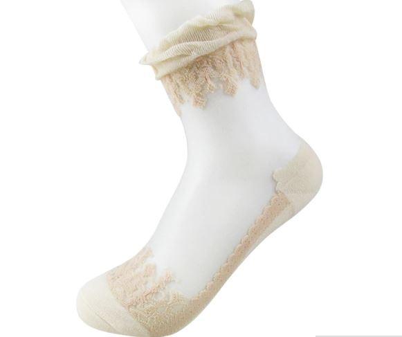 Носки романтичные с оборкой и шелковой вставкой - 7