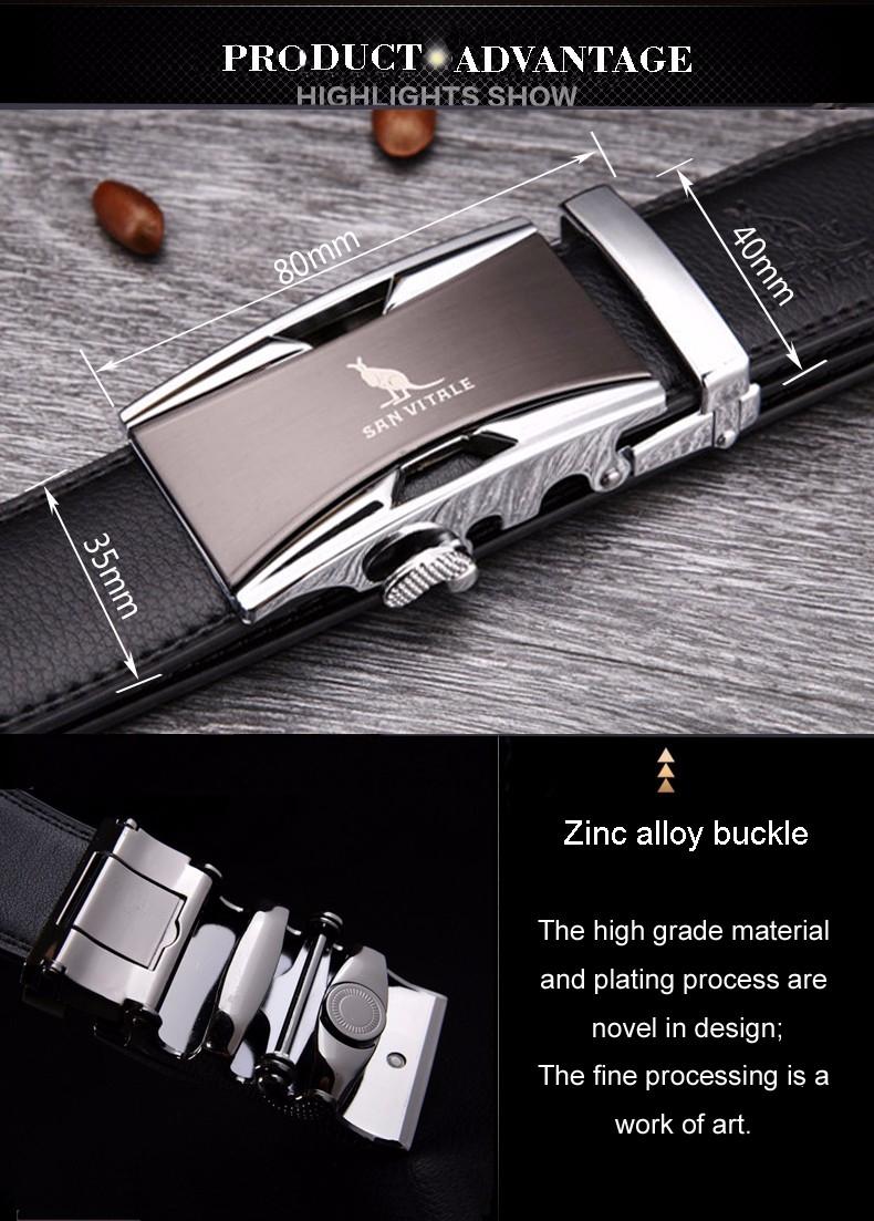 Мужской ремень из натуральной кожи с пряжкой автомат SAN VITALE - 6