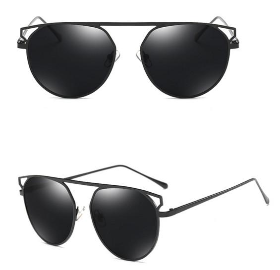 """Солнцезащитные поляризованные очки """"кошачий глаз"""" с металлическими бровями (в наличии черные глянец и золотое зеркало) - 3"""