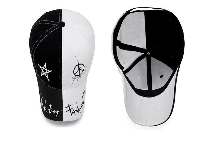 Кепка-бейсболка хлопковая  черно-белая с граффити в стиле аниме - 2