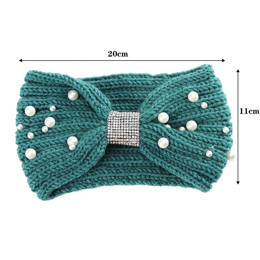 Теплая вязаная повязка на голову с жемчужинами - 3