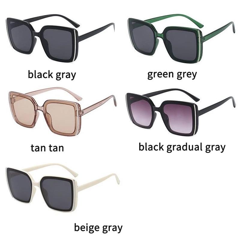 Крупные солнцезащитные квадратные очки в натуральных тонах и с дымчатой линзой (в наличии черные с серым градиентом и бежевые с черной линзой) - 5
