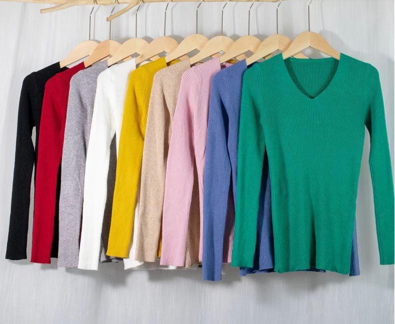 Женский трикотажный пуловер в рубчик (в наличии розовый, черный) - 6
