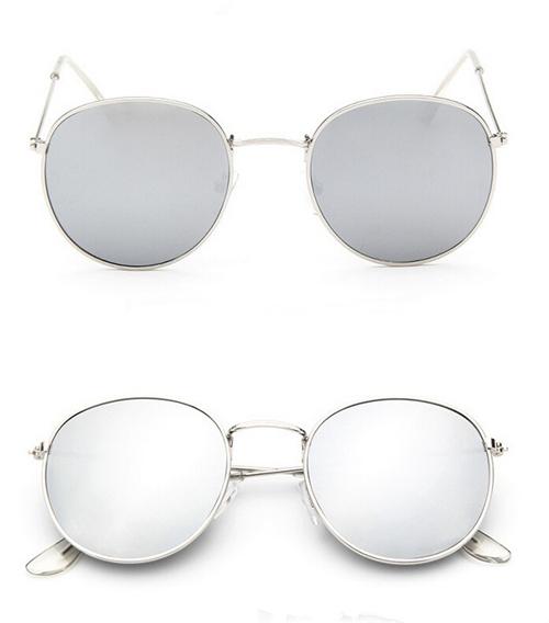 Округлые женские очки от солнца с тонкой металлической оправой (в наличии розовое зеркало в золоте, серебряные и черные в серебре) - 3