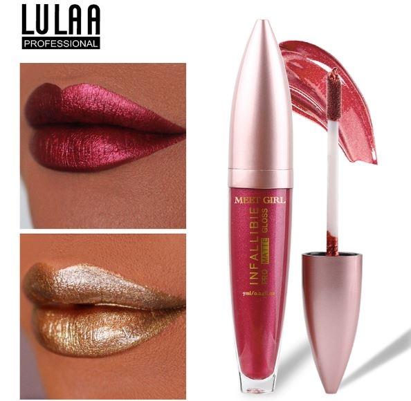 Стойкий блеск для губ с металлическими оттенками LULAA 7 мл. - 1