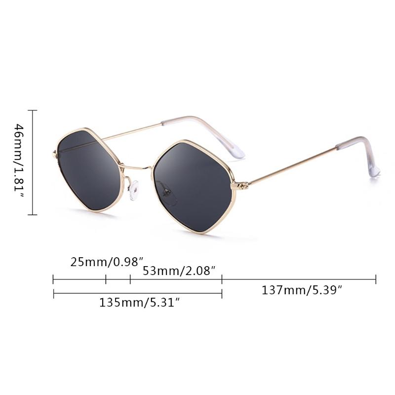 Солнцезащитные очки-ромбы с тонкой металлической оправой - 9