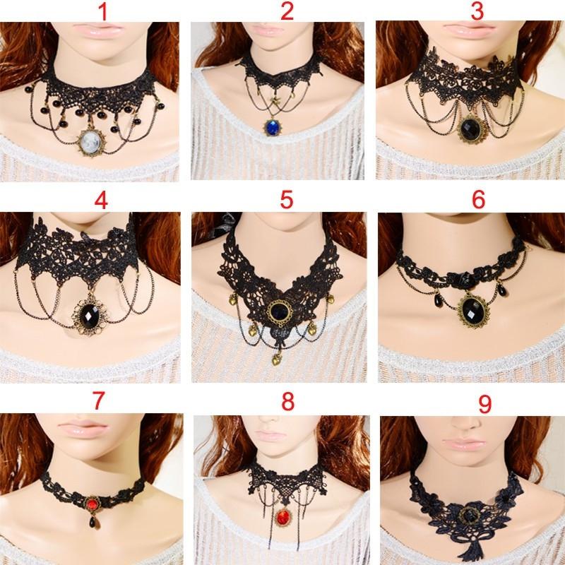 """Кружевной чокер-ожерелье """"Готика""""  ( в наличии черные и беж фото 1, а также четыре модели черного и белого цвета (последних пять фото)) - 3"""