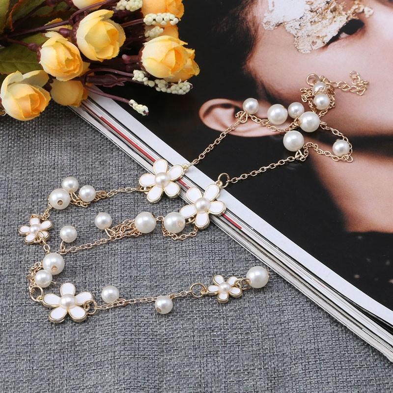 Длинное ожерелье на цепи с цветами и жемчугом - 1