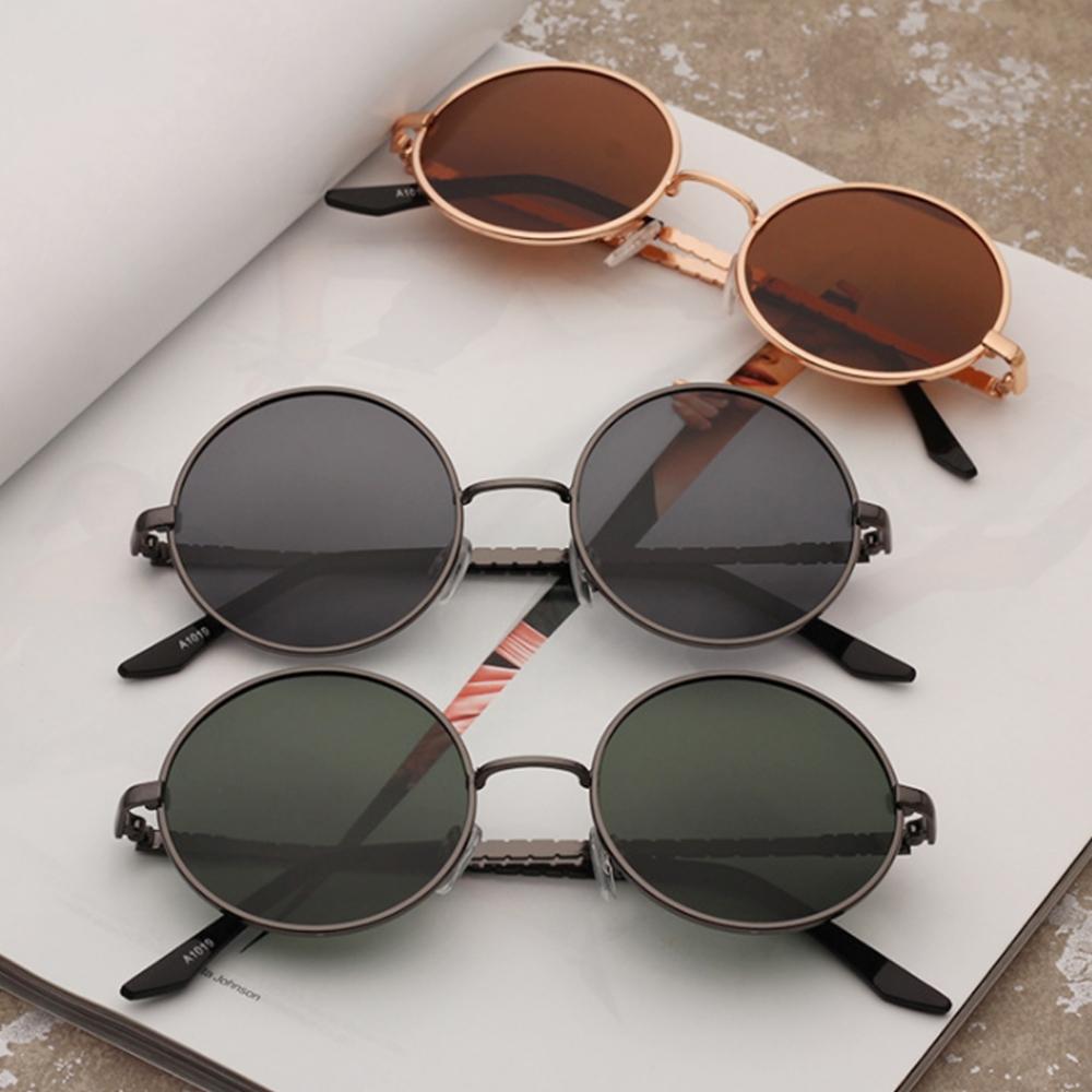 Круглые поляризованные очки от солнца с тонкой металлической оправой (в наличии темно-зеленые, черные, коричневые) - 4