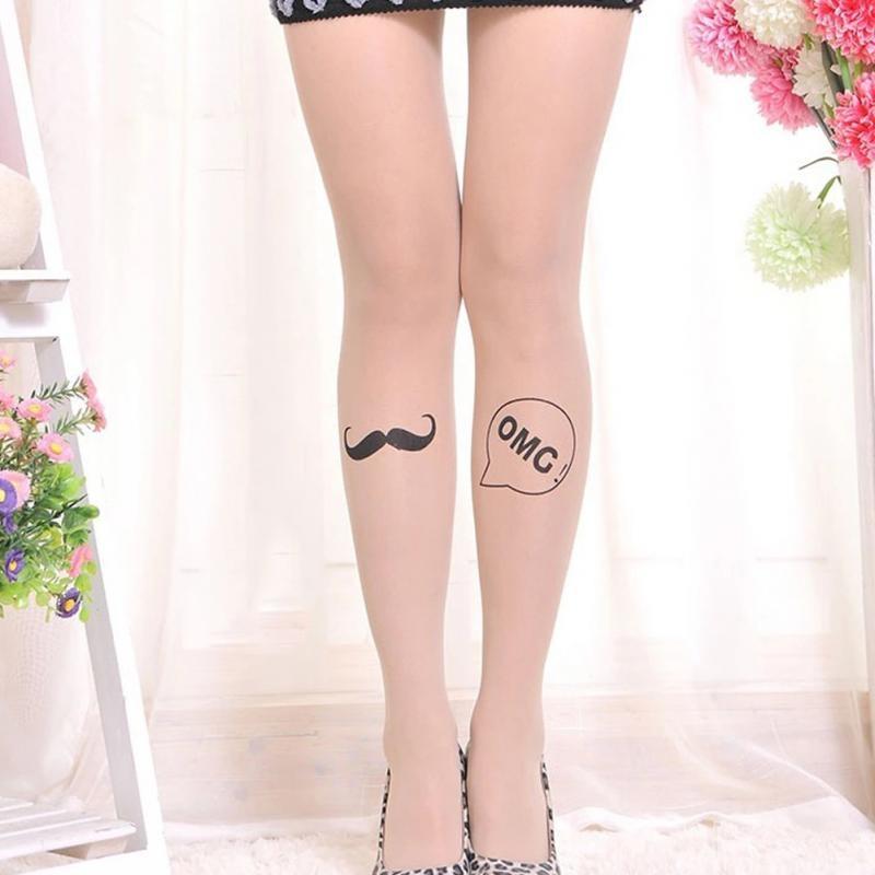 Нейлоновые телесные женские колготы с татуировкой (в наличии модель с последнего фото и 6, 13) - 7