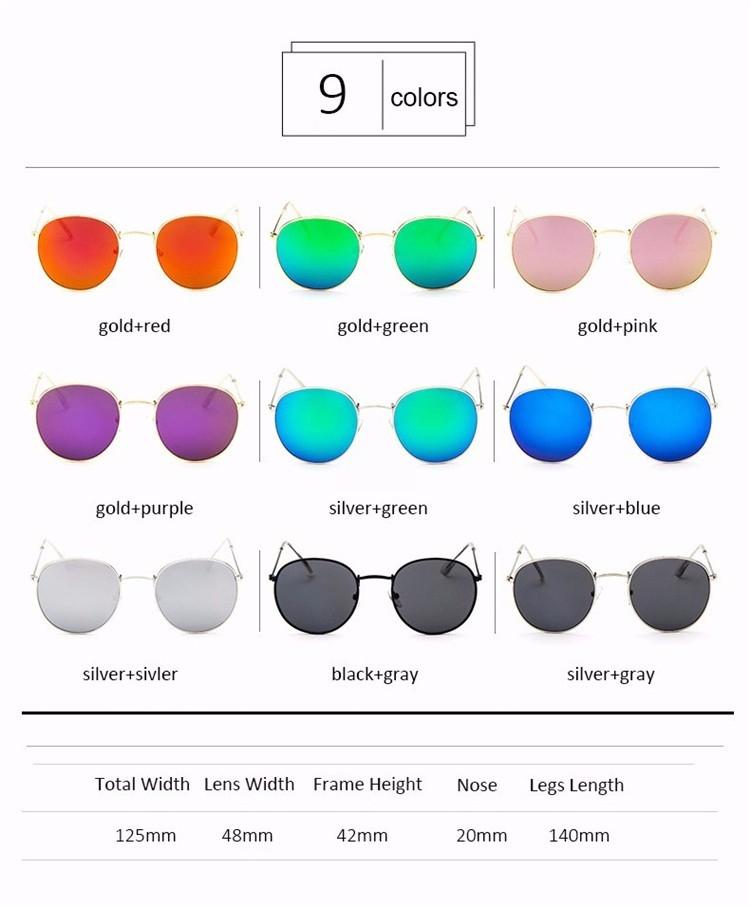 Округлые женские очки от солнца с тонкой металлической оправой (в наличии розовое зеркало в золоте, серебряные и черные в серебре) - 1