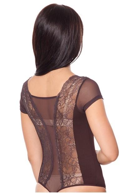 Женский трикотажно-кружевной боди с коротким рукавом и стрингами (в наличии коричневый  ХL) - 6