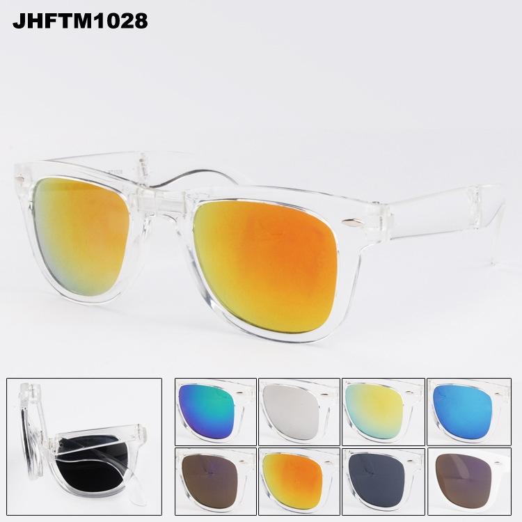 Солнцезащитные складные очки-вайфареры с зеркальной линзой (в наличии прозрачные фиолетовые, изумрудные, черные с фиолетовым зеркалом, коричневые  глянец, зеркальные салатовые, красные) - 1
