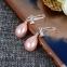 Серьги с бантом из циркония и жемчужинами-каплями (в наличии золотые) - 1