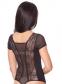 Женский трикотажно-кружевной боди с коротким рукавом и стрингами (в наличии коричневый  ХL) - 2